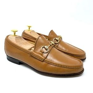 GUCCI Tan Brown Leather Gold Bit Luxury Loafer